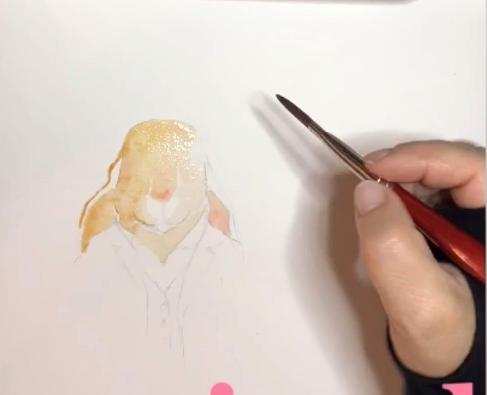 Du siehst den zweiten Schritt meiner Zeichnung mit Aquarellfarben