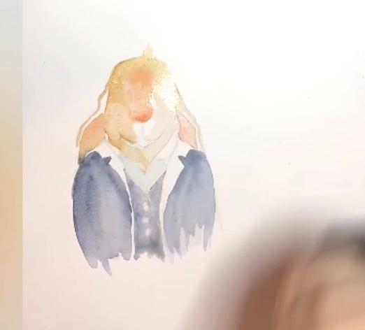 Hier ist Schritt 4, die Nase des Osterhasen wird gemalt