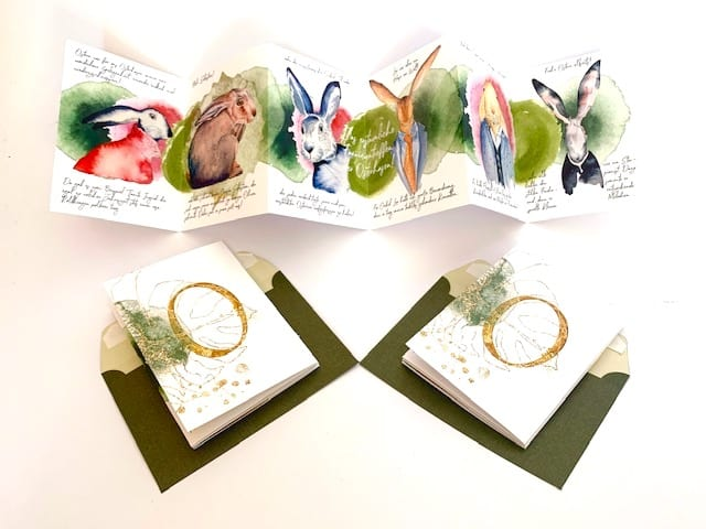 Hier siehst du die Flipp Flapp Osterkarte mit den dazu passenden Kuverts in Grün. Du kannst diese Osterkarte online bestellen im 3er Set.