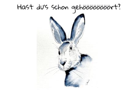 Du siehst mein Aquarellbild Osterhase als Osterkarte mit Aquarellfarben gemalt und Text