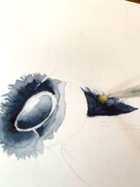Hier siehst du, wie ich die kleinen Härchen male