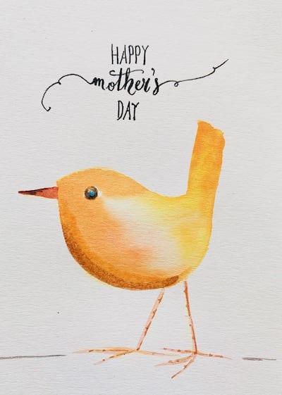 du siehst die fertig gemalte Muttertagskarte