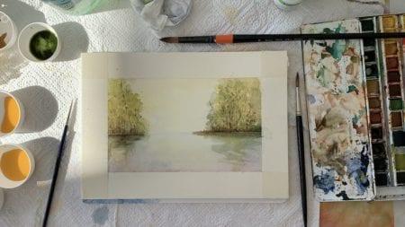Du siehst das Aquarell Morgenstimmung mit Aquarellfarben gemalt