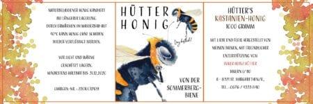 Du siehst das fertige Etikett für den Sommerberger Honig mit einer Biene Aquarell