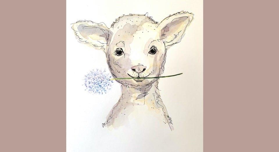 du siehst das Coverbild auf dem ein Schaf mit Blume zu sehen ist. Es ist ein Aquarell von Dodo Kresse