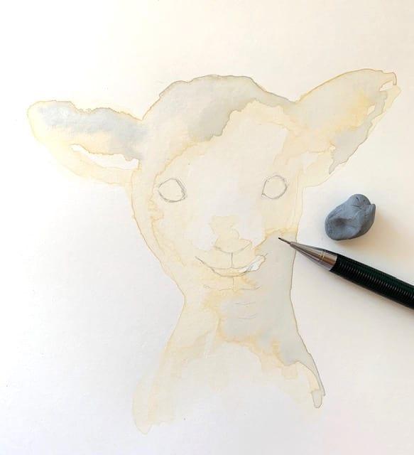 erste Outlines mit Bleistift