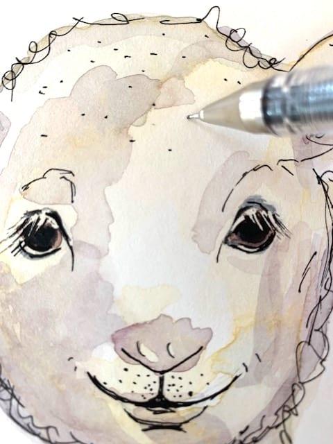 auf der Stirn des Schafs kleine Punkte mit dem Tuschestift zeichnen