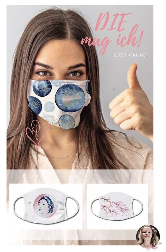 """Du siehst das abstrakte Aquarell """"Doodling"""" als Gesichtsmaske, kaufbar bei Spreadshirt"""