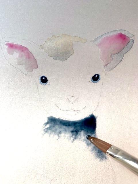 Hier beginne ich mit Indigoblau das Schaffell zu malen