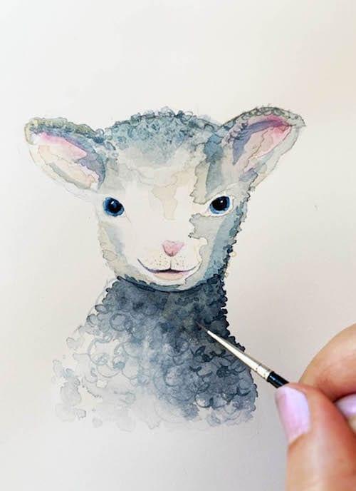 du siehst wie ich das Fell des Schafes mit Aquarellfarbe male