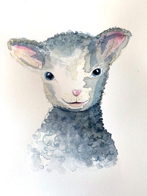 du siehst das aquarell Schaf