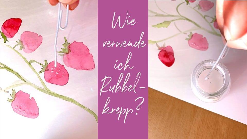 Du siehst das Coverbild Rubbelkrepp Erdbeeren Aquarell