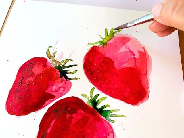 Erdbeergedicht - du siehst wie ich die grünen Blätter der roten Früchte male