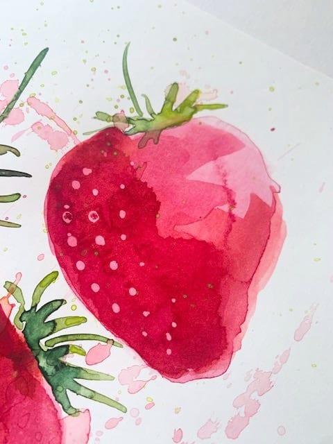 hier siehst du wie die Erdbeere aussieht ohne rubbelkrepp