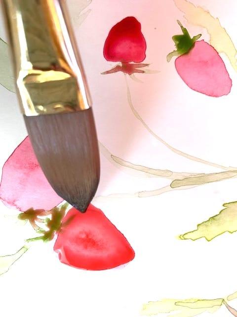 Detail des Aquarellbildes Erdbeeren