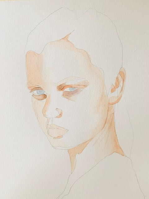 Erste Lasur beim Porträtmalen