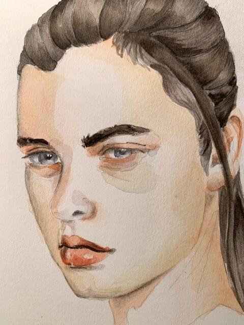 Beim Porträtmalen achte darauf, dass die Haare möglichst in Bündeln akzentuiert werden.