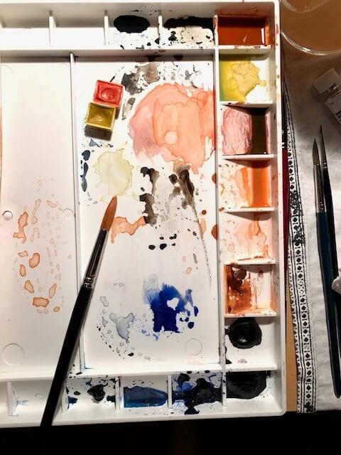 Hier solltest du eigentlich ein Foto von meinem Aquarellkasten sehen mit den für das Porträtmalen passenden Aquarellfarben