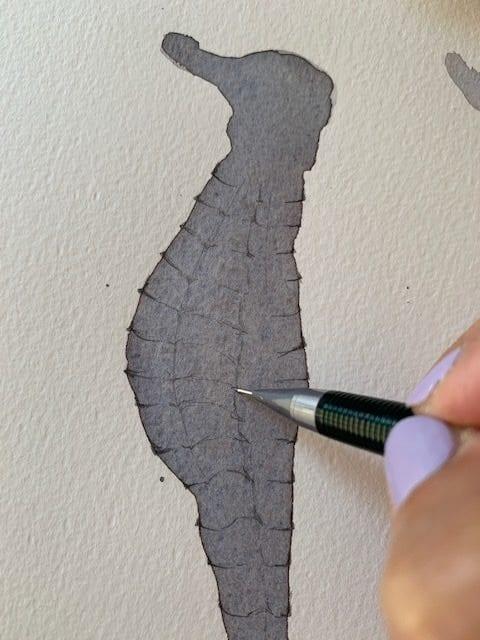 Weitere Details der Aquarell-Skizze mit Bleistift
