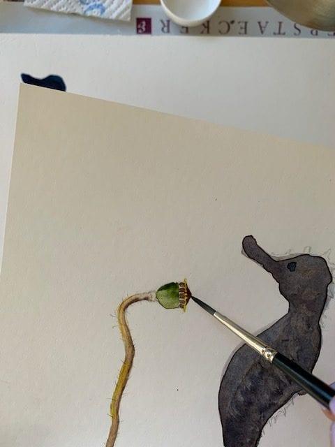 du siehst wie ich das Dach des Mohns male