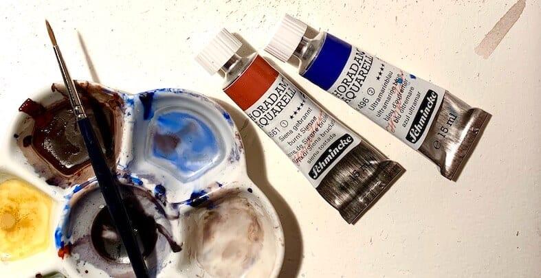 Die Hauptfarben Ultramarinblau und Siena gebrannt - ideal für inner landscapes!
