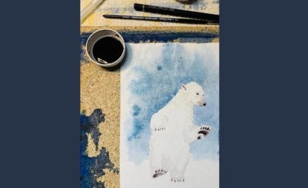 du siehst das Coverbild des Aquarells Eisbär