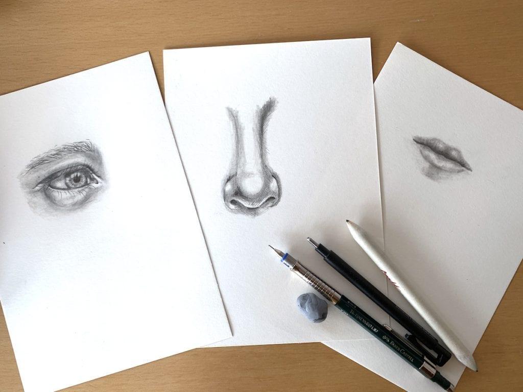 du siehst 3 Zeichnungen vom Gesicht