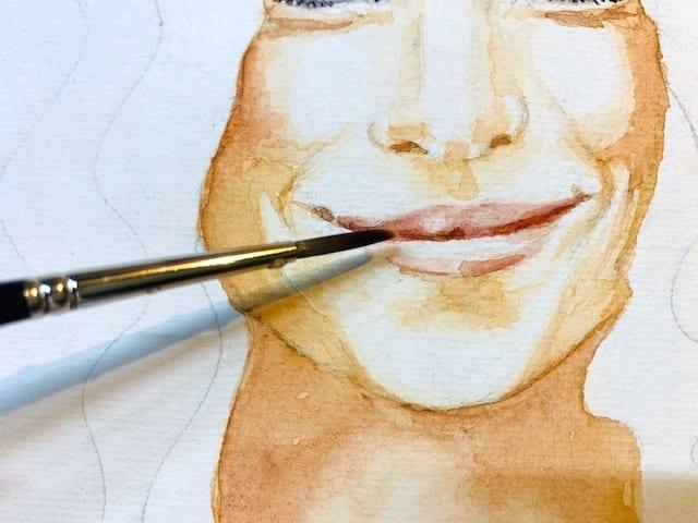 Du siehst das Malen der Lippen