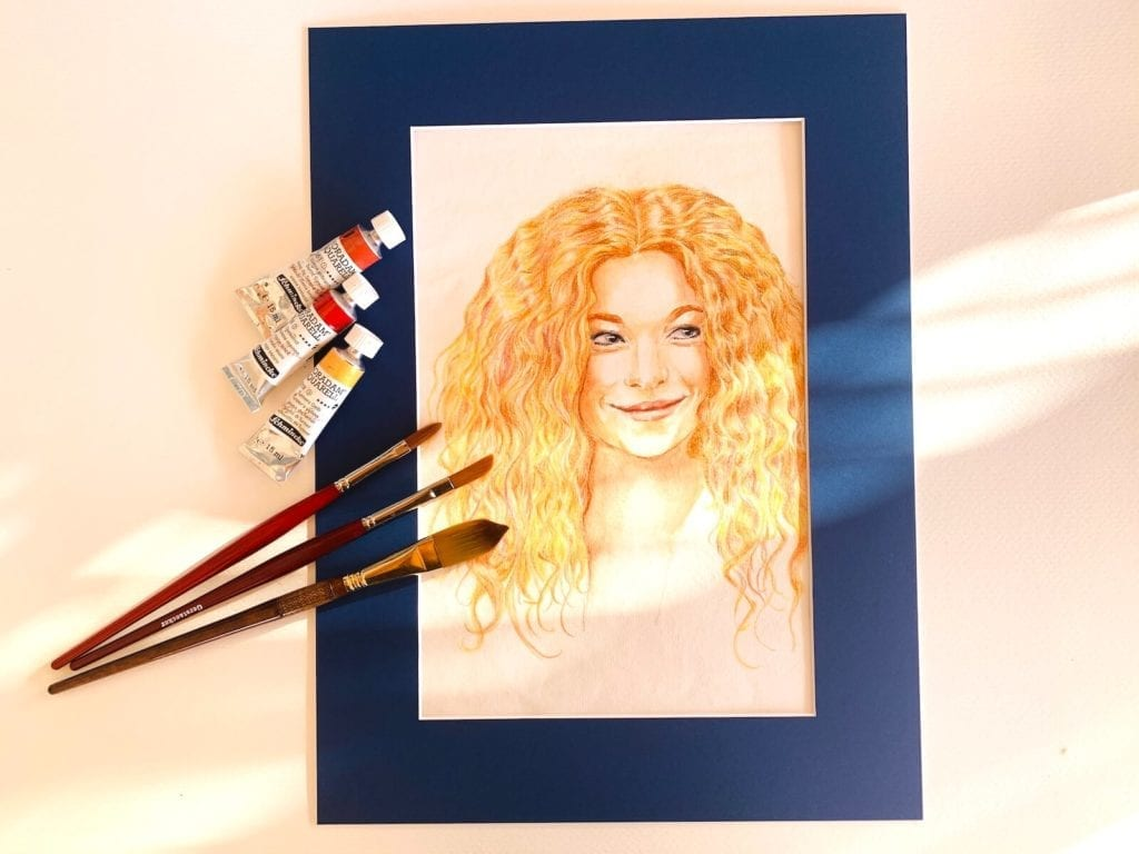 Du siehst das Porträt von Marleen Lohse in Aquarelltechnik