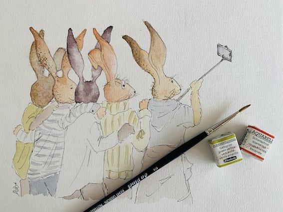 du siehst viele Hasen mit Selfie-Hasen-stick