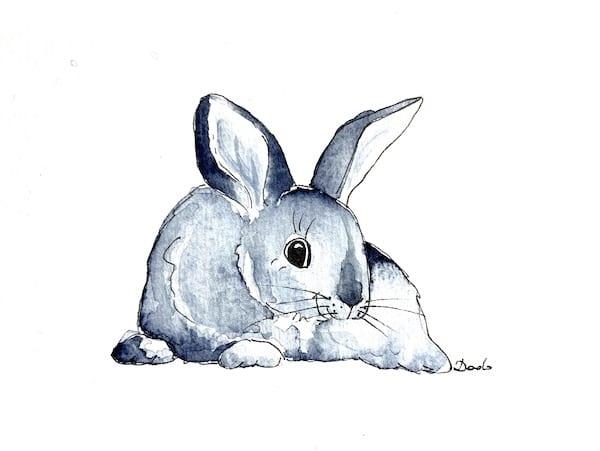 fertiges aquarell des blauen Kaninchens
