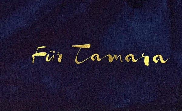 Goldene Schrift Für Tamara als Widmung für das Geschenkbuch