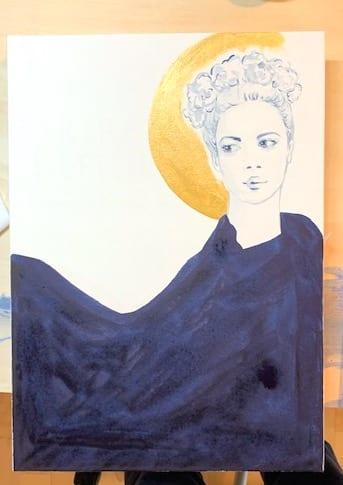 du siehst den blauen Mantel auf dem Geschenkbuch gemalt