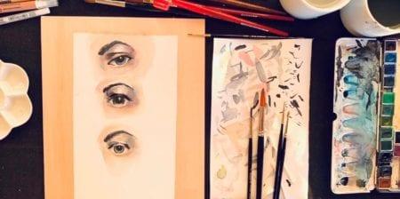 du siehst das Coverbild zu dem Beitrag Augen malen mit Aquarellfarben