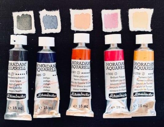 Fünf Aquarellfarben zum Augen malen