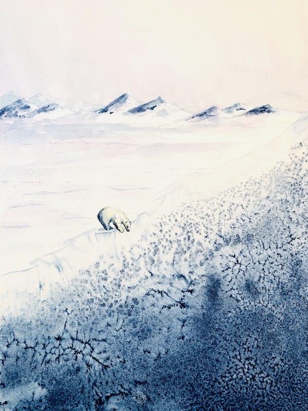Der Eisbär im eisigen Ozean