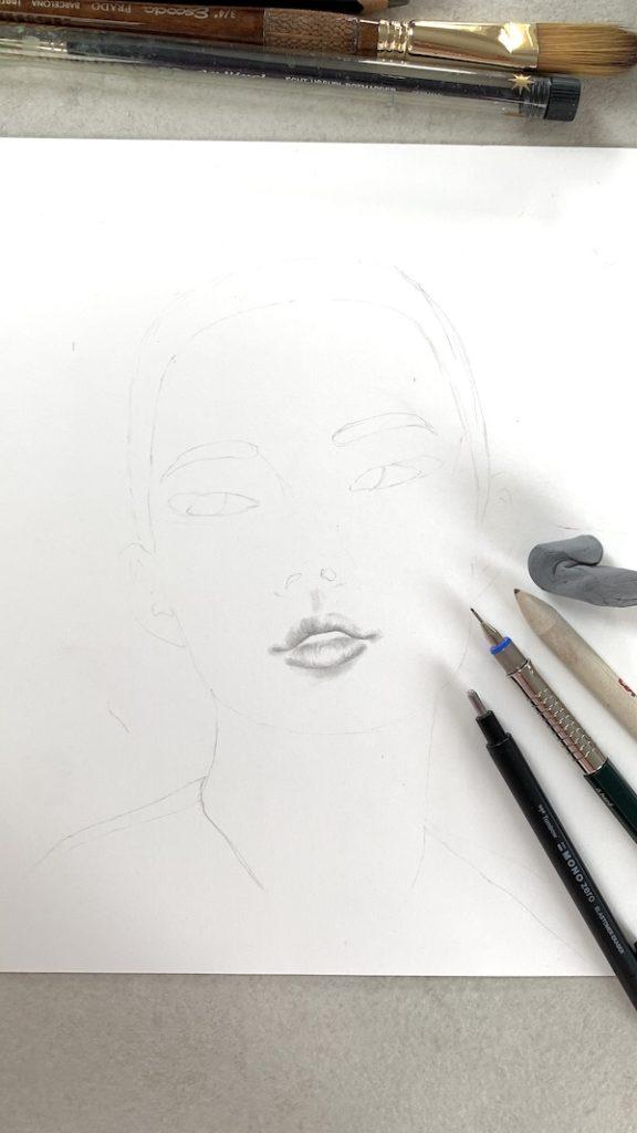 Hier siehst du die Skizze des asiatischen Gesichts mit Bleistift