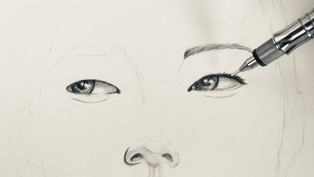 Die Wimpern werden gezeichnet