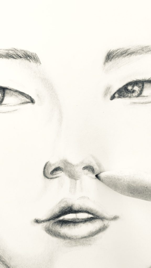 Gesicht zeichnen und Nasenflügel verwischen